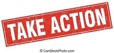 take action square stamp