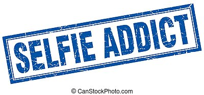 selfie addict square stamp