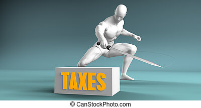 Cutting Taxes and Cut or Reduce Concept