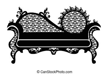 Baroque style sofa round shape with rich ornaments in black....