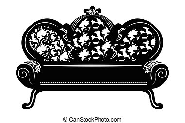 Vintage Baroque Sofa round shaped with luxurious ornaments....