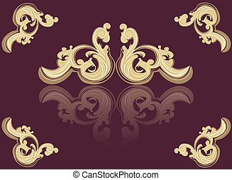 Vintage Acanthus red ornament background. Vector