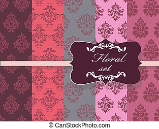Vintage Floral ornament damask patterns collection. Elegant...