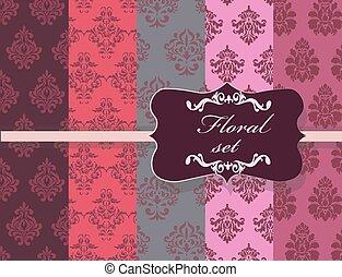 Vintage Floral ornament damask patterns collection. Elegant...