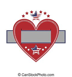 heart crossed with label paper and american flag star icon