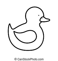 silhouette duck toy flat icon vector illustration
