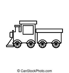 silhouette train toy flat icon vector illustration