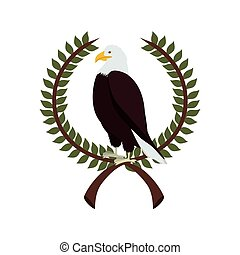 eagle in crown formed with olive branch vector illustration