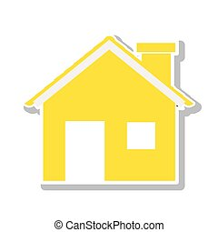 silhouette with yellow house and trees