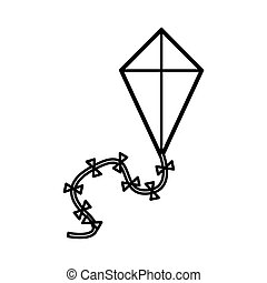 silhouette kite in triangular shape vector illustration