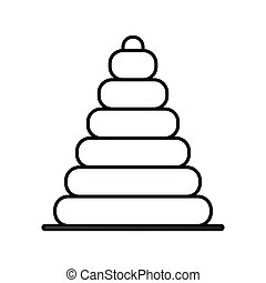 silhouette pyramid toy flat icon vector illustration