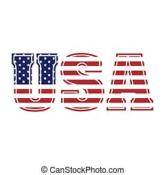 United States of America Text Graphic Logo with American Flag