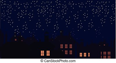 Silhouette of the city and night sky. Falling snow. Cat on the roof.