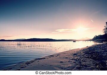 Beautiful sunrise at empty beach, Mediterranean Sea  island