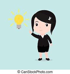 Business woman get something idea, cartoon