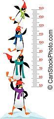 Meter wall or height chart with Funny penguins - Meter wall...