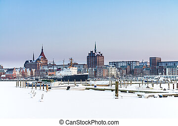 View to Rostock, Germany, in winter time.