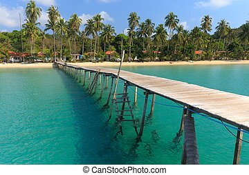 Wooden pontoon in tropical sea - Wooden pontoon in the...
