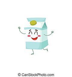 Funny cute milk box character with a shy smile