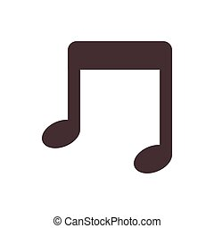 silhouette monochrome with musical note vector illustration