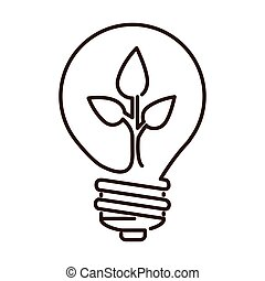 silhouette light bulb flat icon with leaf inside vector...