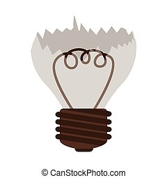 silhouette contour broken bulb with resistence vector...
