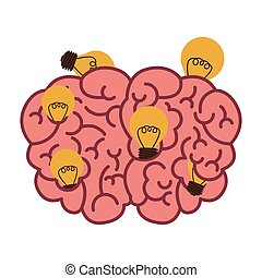 silhouette brain human top view with light bulb vector...