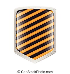 silhouette metallic shield with striped lines