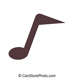 silhouette monochrome with sign eighth note vector...