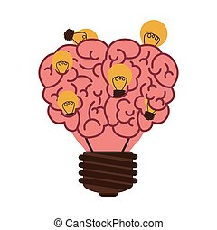 light bulb in form of brain icon with multiple small bulb...