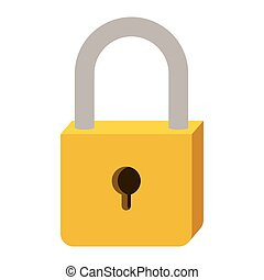 padlock with yellow body and shackle vector illustration