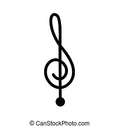 silhouette monochrome with sign music treble clef vector...