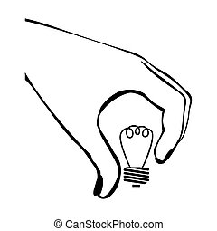 silhouette hand with light bulb vector illustration