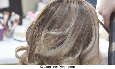 Profile of Smiling Young Woman with Hair Having Hair Cut and Styled by Stylist in Salon