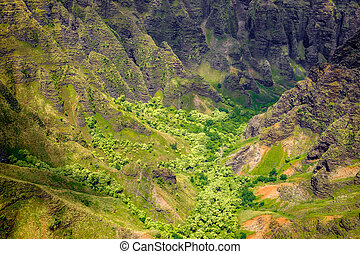 Beautiful landscape detail of Na Pali coast cliffs and...