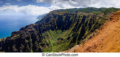 Panoramic landscape view of Na Pali coastline in dramatic...