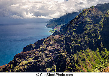 Beautiful landscape view of Na Pali coastline in dramatic...