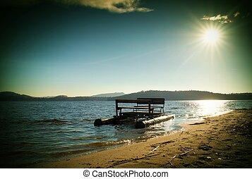 vieux, abandonnés, attrapé, Coucher soleil, Bateau, mer,...