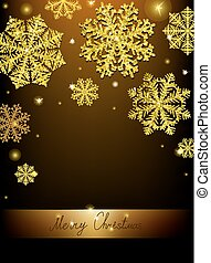 Christmas Calligraphic Design snowflake, with a gold texture