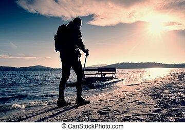 sac à dos, Amarré, touriste, ensoleillé, Promenade,...