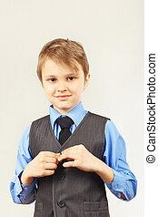 Little cute gentleman wears on suit jacket - Little cute...