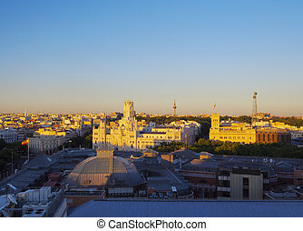 Madrid Skyline - Spain, Madrid, Elevated view of the Cybele...