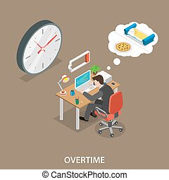 Overtime isometric flat vector illustration. Man is sitting...