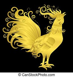 Golden Rooster on Black Background. Fire Rooster Crowing....