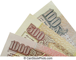 Indian Currency - photo of INR 100,500 and 1000 on white