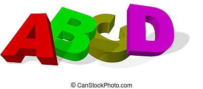ABC-letters - illustration of letters ABCD on white...