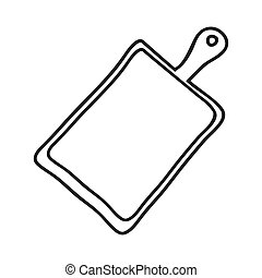 silhouette monochrome with chopping board vector...