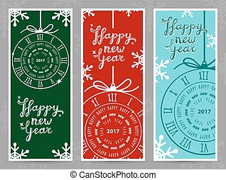 Happy New Year 2017 vector greeting cards - Happy New Year...