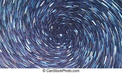 Stars in the sky like meteors in screw spiral. Zoom. Time...
