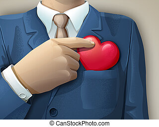 Ethical business - Businessman holding an heart shape...